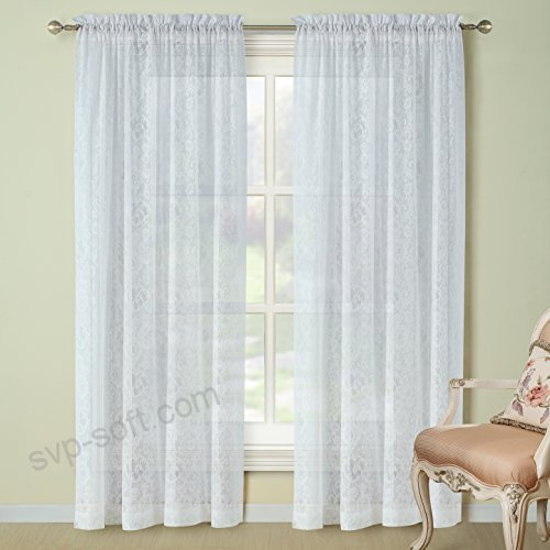 Ds Bath Sunflower Lace Window Curtain,rod Pocket Knitting Pertaining To Floral Lace Rod Pocket Kitchen Curtain Valance And Tiers Sets (View 15 of 50)