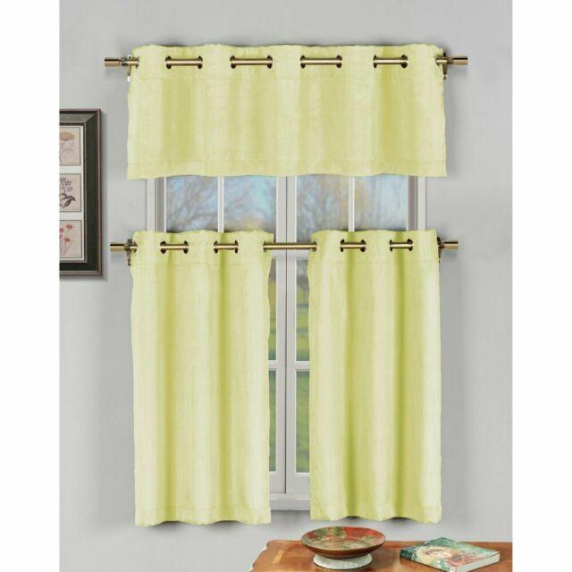 Duck River Agnes Faux Silk 3 Piece Grommet Kitchen Curtain Set Within Faux Silk 3 Piece Kitchen Curtain Sets (View 16 of 44)