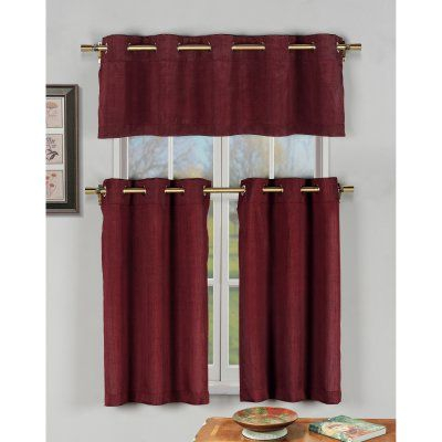 Inspiration about Duck River Agnes Faux Silk 3 Piece Grommet Kitchen Curtain With Faux Silk 3 Piece Kitchen Curtain Sets (#13 of 44)