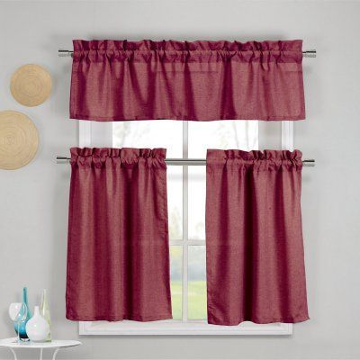 Inspiration about Duck River Benneton 3 Piece Kitchen Curtain Set Wine – Bekwn Within Lemon Drop Tier And Valance Window Curtain Sets (#21 of 30)