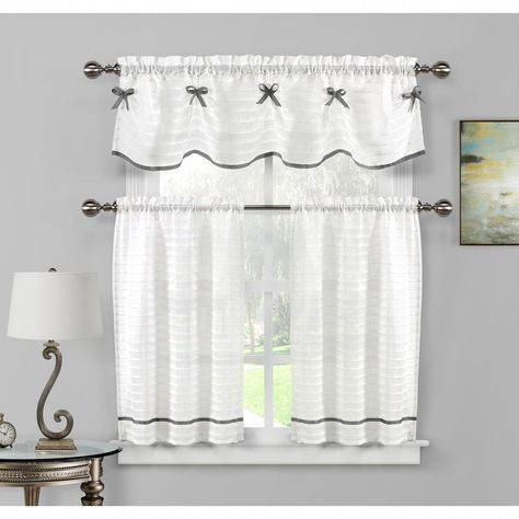 Popular Photo of Twill 3 Piece Kitchen Curtain Tier Sets