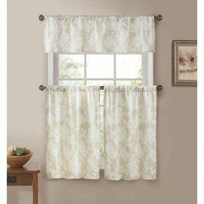 Duck River Ewva Linen Look Jacquard 3 Piece Kitchen Curtain Set | Ebay Throughout Imperial Flower Jacquard Tier And Valance Kitchen Curtain Sets (#23 of 46)