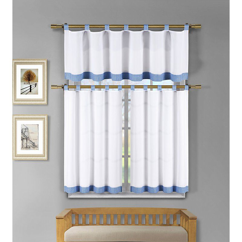 Duck River Tatum Microfiber 3 Piece Kitchen Curtain Set Regarding Microfiber 3 Piece Kitchen Curtain Valance And Tiers Sets (View 2 of 30)
