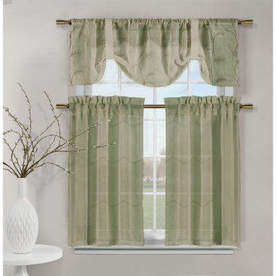 Duck River Videira Leaf Embroidered 3 Piece Kitchen Curtain Regarding Solid Microfiber 3 Piece Kitchen Curtain Valance And Tiers Sets (#20 of 50)