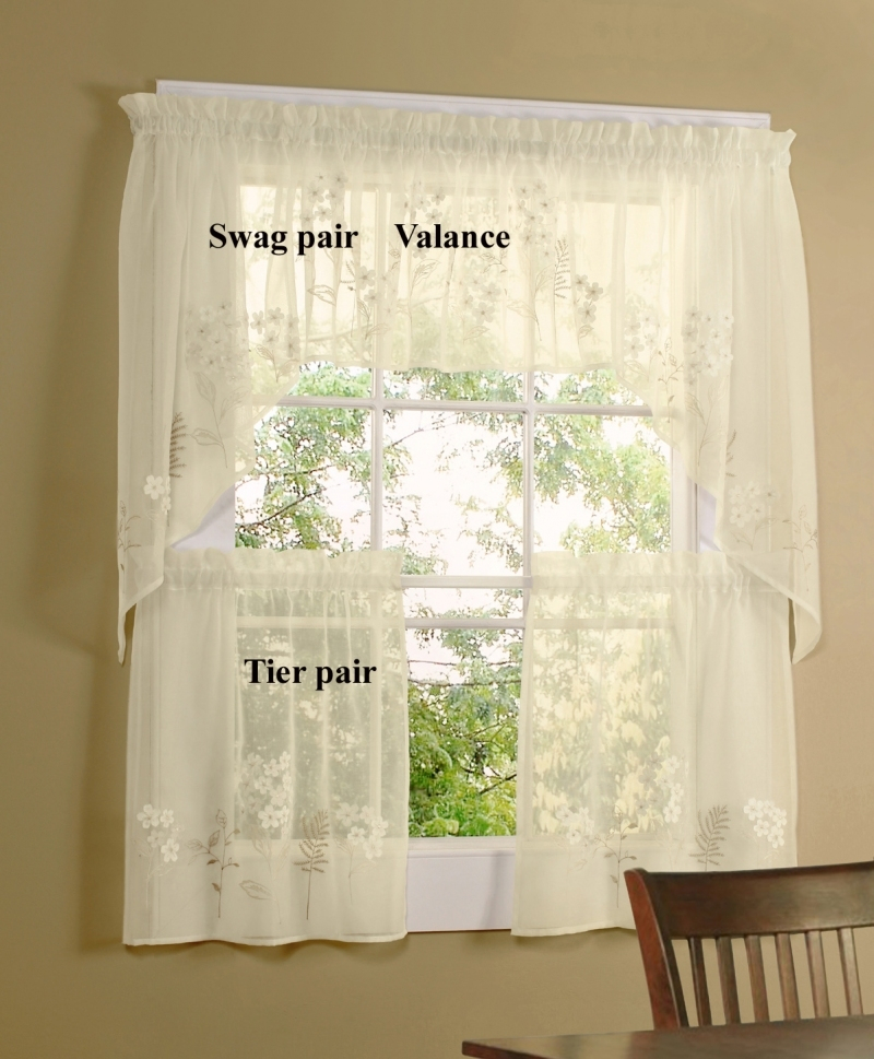Easy Swag Curtains For Kitchen Pertaining To Fluttering Butterfly White Embroidered Tier, Swag, Or Valance Kitchen Curtains (View 8 of 50)