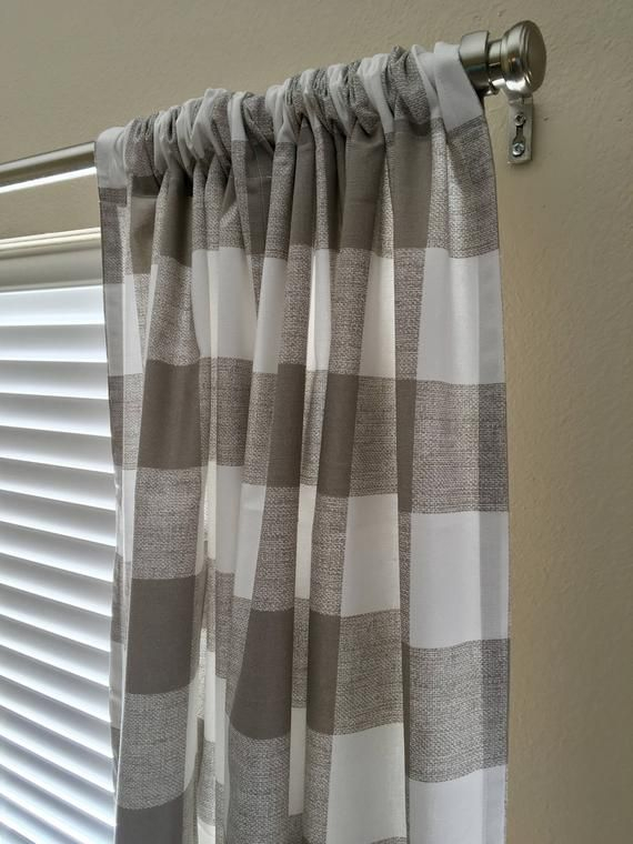 Ecru Beige And White Greige Buffalo Check Curtains Ready To In Classic Navy Cotton Blend Buffalo Check Kitchen Curtain Sets (View 9 of 30)