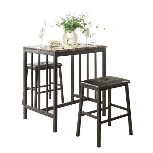 Edgar Bar Tables In Current Edgar 3 Piece Counter Height Pub Table Set (#5 of 20)