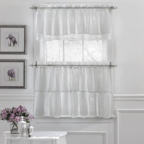 Elegant Crushed Voile Ruffle Kitchen Window Curtain Valance Inside Ivory Micro Striped Semi Sheer Window Curtain Pieces (#10 of 50)