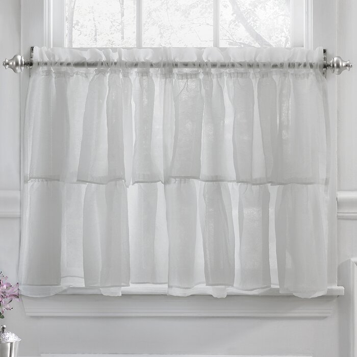 Elegant Crushed Voile Ruffle Kitchen Window Tier Cafe Curtain Pertaining To Classic Black And White Curtain Tiers (View 15 of 50)