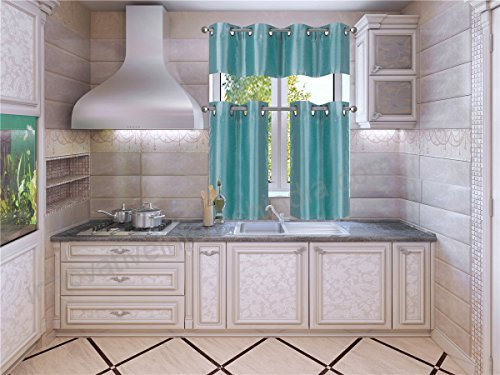 Elegant Home Collection 3 Piece Solid Color Faux Silk Inside Faux Silk 3 Piece Kitchen Curtain Sets (View 19 of 44)