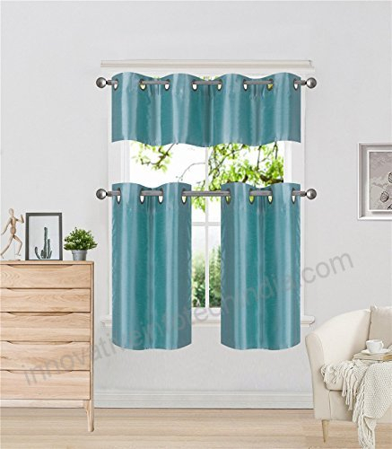 Elegant Home Collection 3 Piece Solid Color Faux Silk With Regard To Faux Silk 3 Piece Kitchen Curtain Sets (View 20 of 44)