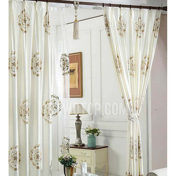 Elegant Ivory Faux Silk Embroidered Floral Pattern Living In Floral Embroidered Faux Silk Kitchen Tiers (View 13 of 50)