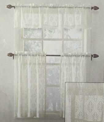 Elegant Ivory Priscilla Lace Kitchen Curtains – Tiers Regarding Ivory Micro Striped Semi Sheer Window Curtain Pieces (View 47 of 50)