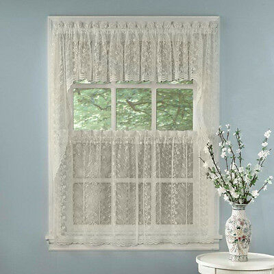Elegant Ivory Priscilla Lace Kitchen Curtains – Tiers, Tailored Valance Or  Swag | Ebay Regarding Ivory Knit Lace Bird Motif Window Curtain (View 4 of 50)