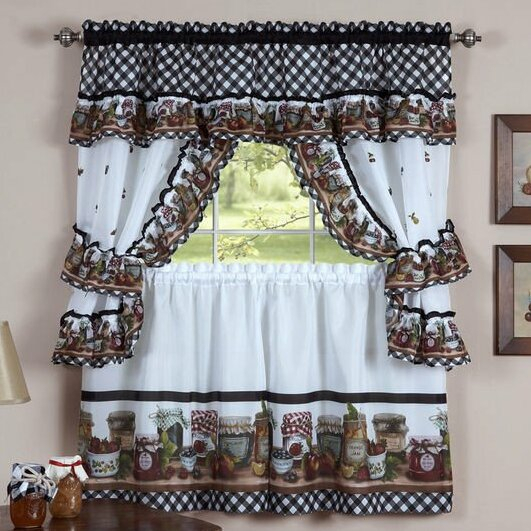 Elegant Kitchen Curtains | Wayfair For Embroidered Chef Black 5 Piece Kitchen Curtain Sets (View 12 of 42)