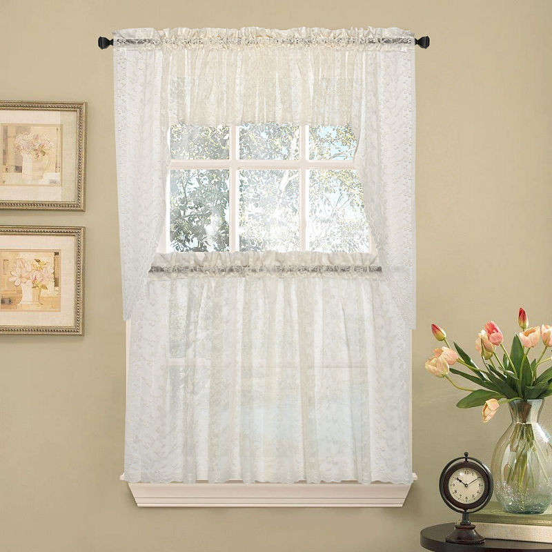Elegant Priscilla Lace Kitchen Window Treatments   Products Regarding White Tone On Tone Raised Microcheck Semisheer Window Curtain Pieces (View 3 of 46)