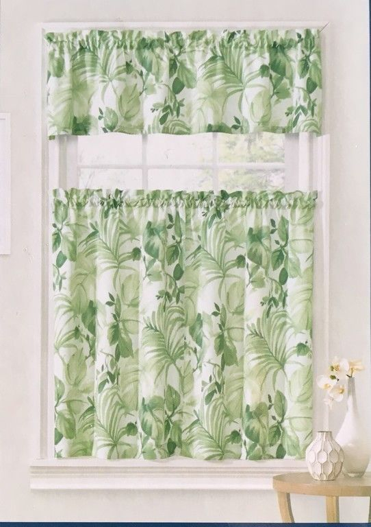 Ellery Home Pacifica Palm Tropical Tier & Valance Set Inside Coastal Tier And Valance Window Curtain Sets (View 10 of 30)