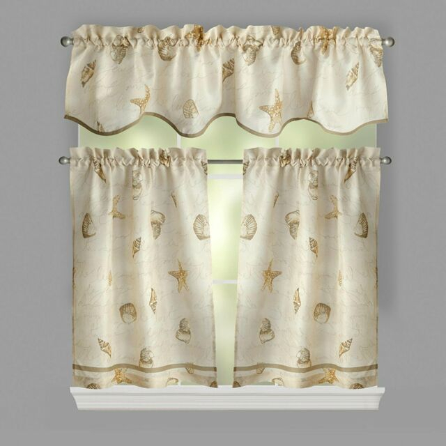Ellery Homestyles 36 Inch Tiers And Valance Curtain Set Shells Seashells With Regard To Classic Navy Cotton Blend Buffalo Check Kitchen Curtain Sets (View 10 of 30)