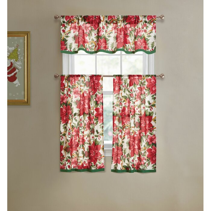 Elraine Poinsettia 3 Piece Kitchen Curtain And Valance Set Inside Chateau Wines Cottage Kitchen Curtain Tier And Valance Sets (View 17 of 30)