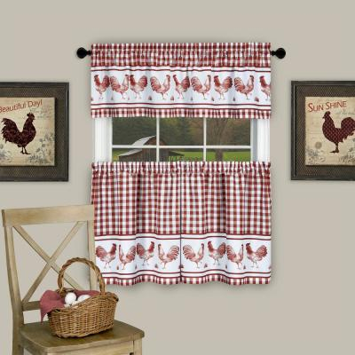 Elrene Cameron Kitchen Tier Set Of 2 026865775402 – The Home For Semi Sheer Rod Pocket Kitchen Curtain Valance And Tiers Sets (View 36 of 50)