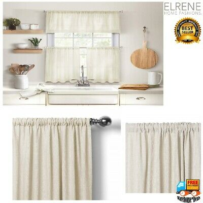 Elrene Serene Two Tier Rod Pocket Panels 60' X 30' Linen New Intended For Serene Rod Pocket Kitchen Tier Sets (#17 of 30)