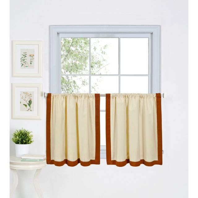 Popular Photo of Linen Stripe Rod Pocket Sheer Kitchen Tier Sets