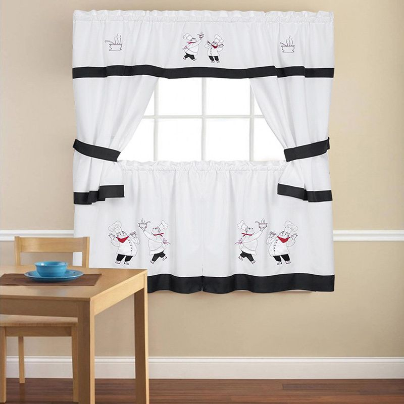 Popular Photo of Embroidered Chef Black 5 Piece Kitchen Curtain Sets