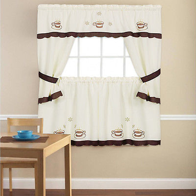 """Embroidered Cuppa Joe 5 Piece Kitchen Curtain Cottage Set – 36"""" Or 24""""    Ebay Throughout Coffee Embroidered Kitchen Curtain Tier Sets (View 14 of 30)"""