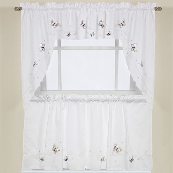Embroidered Fluttering Butterfly Kitchen Curtains Tiers For Grace Cinnabar 5 Piece Curtain Tier And Swag Sets (View 18 of 30)