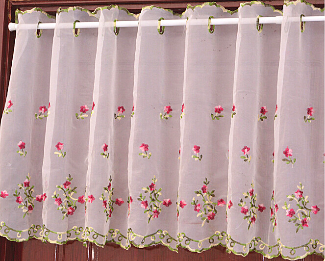 Embroidered Kitchen Curtains Tiers Valance Or Swag Cafe Regarding Kitchen Curtain Tiers (View 43 of 50)
