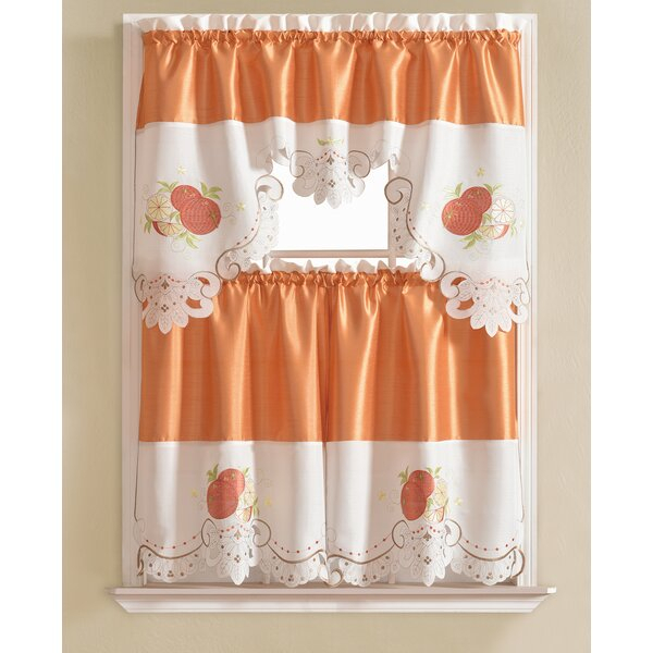 Embroidered Kitchen Curtains   Wayfair Intended For Coffee Embroidered Kitchen Curtain Tier Sets (View 15 of 30)