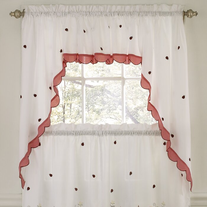 Embroidered Ladybug Meadow Kitchen Curtain Valance Within Hudson Pintuck Window Curtain Valances (View 5 of 30)