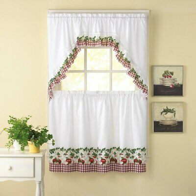 "Embroidered Ladybug Meadow Kitchen Curtains 24"" Tier, Swag Within Embroidered Ladybugs Window Curtain Pieces (View 14 of 50)"