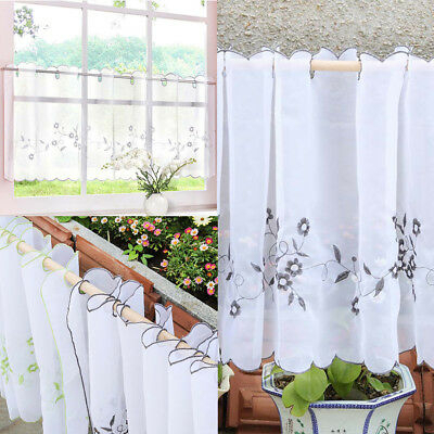 Embroidered Window Tiers Kitchen Cafe Half Curtain Eyelet For Oakwood Linen Style Decorative Window Curtain Tier Sets (#10 of 30)