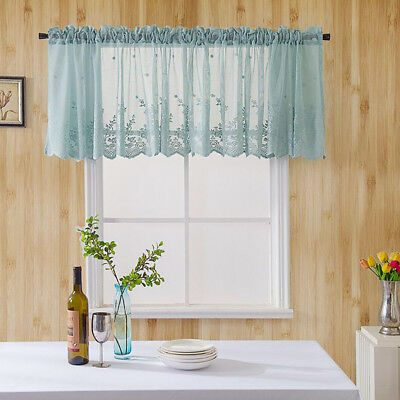 Embroidered Window Tiers Kitchen Cafe Half Curtain Eyelet Regarding Oakwood Linen Style Decorative Curtain Tier Sets (View 20 of 30)