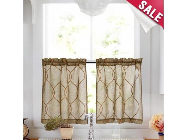 Embroidery Kitchen Curtain Sets 3 Pcs Moroccan Trellis Pattern Embroidered  Semi Sheer Kitchen Tier Curtains And Valance Set 36 Inch For Bathroom, Regarding Embroidered Rod Pocket Kitchen Tiers (View 18 of 49)