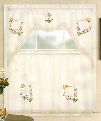 Embroidery Pink Tulip And Gold Butterfly Kitchen/cafe Regarding Cotton Blend Ivy Floral Tier Curtain And Swag Sets (View 16 of 30)