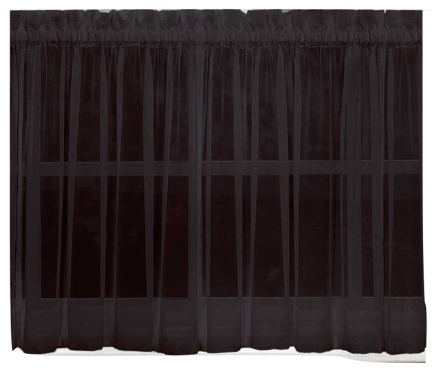 """Emelia Sheer Solid Black Kitchen Curtain, 36"""" Tier Throughout Sheer Lace Elongated Kitchen Curtain Tier Pairs (#10 of 30)"""