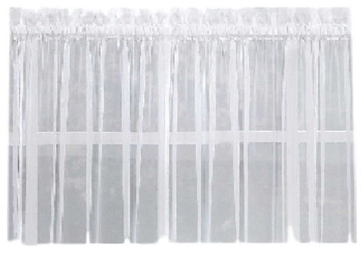"Emelia Sheer Solid White Kitchen Curtain, 36"" Tier Within Hopscotch 24 Inch Tier Pairs In Neutral (View 9 of 30)"