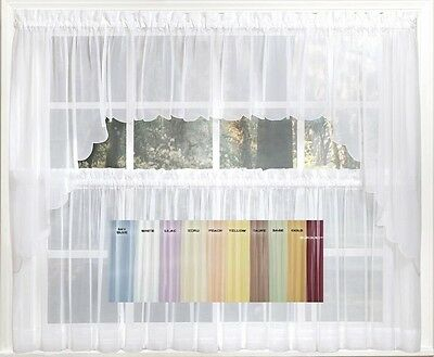 Emelia Sheer Voile Kitchen Curtain – 11 Colors – Tiers With Floral Embroidered Sheer Kitchen Curtain Tiers, Swags And Valances (View 20 of 50)