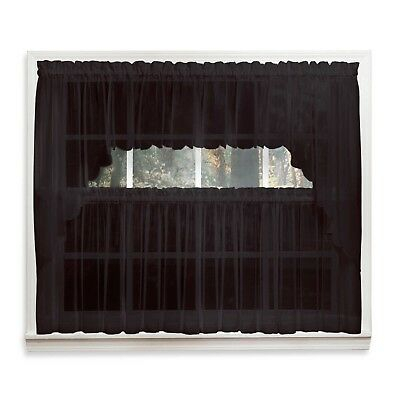Emelia Sheer Voile Kitchen Curtain – Black Tiers, Swags, Valances – New ! |  Ebay Regarding Bermuda Ruffle Kitchen Curtain Tier Sets (View 15 of 50)