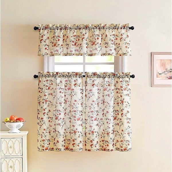 Emeria Faux Linen Sheer Floral Kitchen Curtain Set, Beige Red, 57X15 &  28X36 Inches – 28X36 Inches Intended For Floral Watercolor Semi Sheer Rod Pocket Kitchen Curtain Valance And Tiers Sets (View 8 of 50)