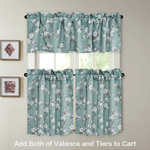 Energy Saving Ultra Soft Casual Kitchen Curtains Rod Pocket With Floral Pattern Window Valances (View 15 of 50)