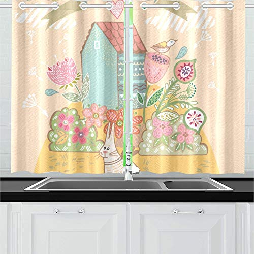 Enevotx Beautiful Sweet Home Cute Bird Kitchen Curtains Window Curtain Tiers For Café, Bath, Laundry, Living Room Bedroom 26 X 39 Inch 2 Pieces Regarding Kitchen Curtain Tiers (View 4 of 50)