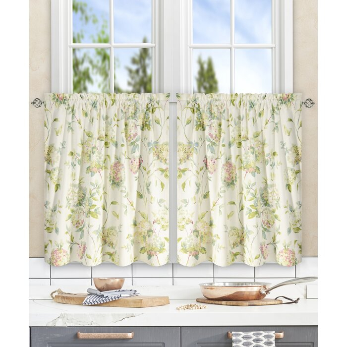 Erie Hydrangea Tier Curtain In Twill 3 Piece Kitchen Curtain Tier Sets (View 11 of 42)