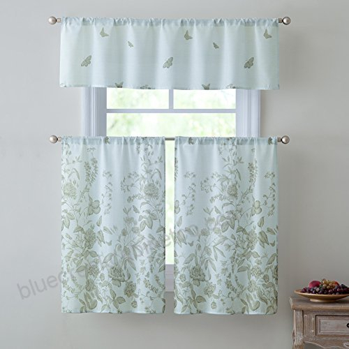 Estela 3 Piece Kitchen Curtain Set, Floral Decorative Design Pertaining To Semi Sheer Rod Pocket Kitchen Curtain Valance And Tiers Sets (View 19 of 50)