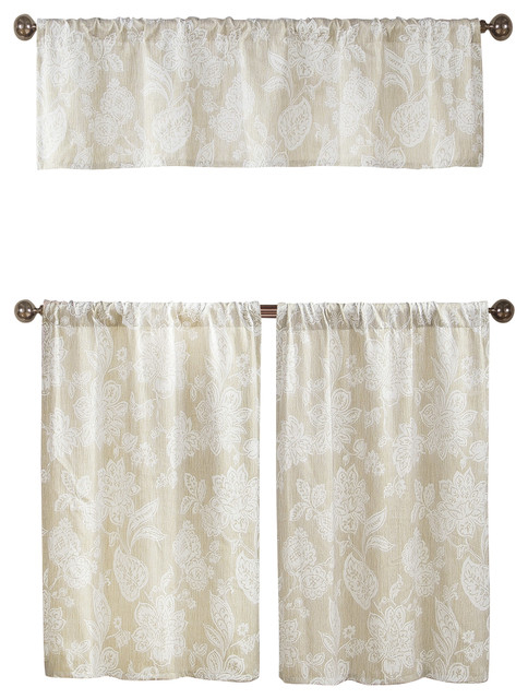 Ewva Country Curtains Kitchen Window Set, Ivory With White Floral Stitch  Design In Pintuck Kitchen Window Tiers (#12 of 43)