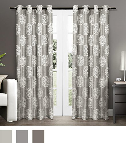 Exclusive Home Curtains Akola Medallion Linen Jacquard Throughout Dove Gray Curtain Tier Pairs (View 14 of 30)