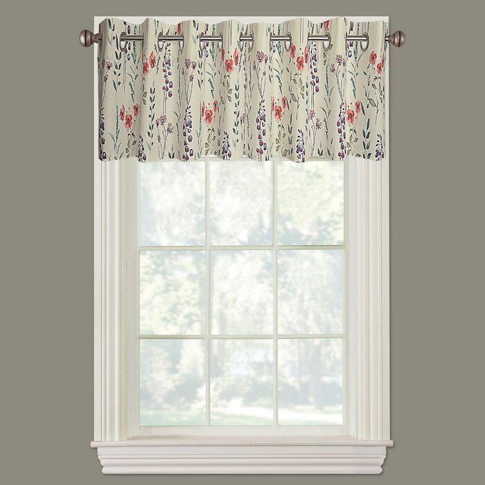 "Fabrizia Floral Straight 52"" Window Valance For Luxury Light Filtering Straight Curtain Valances (View 36 of 47)"