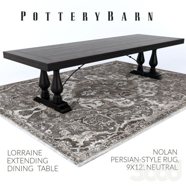 Famous Gray Wash Lorraine Extending Dining Tables With Regard To Pottery Barn Lorraine Dining Table / Nolan Persian Style Rug (#6 of 20)